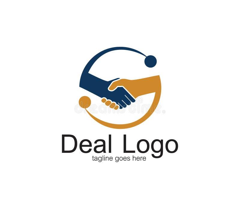 σύμβολο χειραψιών του διανυσματικού σχεδίου λογότυπων διαπραγμάτευσης και συνεργασίας μέσα σε έναν κύκλο με την αφηρημένη επιστολ διανυσματική απεικόνιση