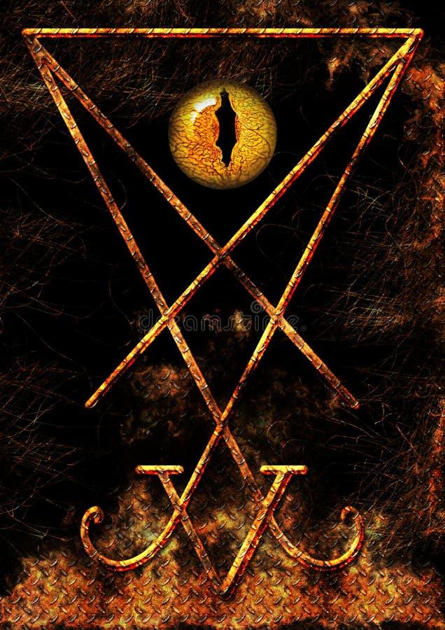 Σύμβολο Lucifer με τα μάτια ερπετοειδών ελεύθερη απεικόνιση δικαιώματος