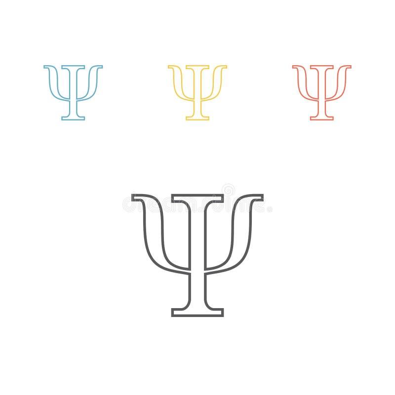 Σύμβολο PSI που απομονώνεται στο άσπρο υπόβαθρο Εικονίδιο γραμμών ψυχολογίας διάνυσμα διανυσματική απεικόνιση