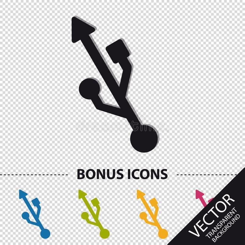 Σύμβολο USB - ζωηρόχρωμη διανυσματική απεικόνιση με τα εικονίδια επιδομάτων - που απομονώνονται στο διαφανές υπόβαθρο διανυσματική απεικόνιση