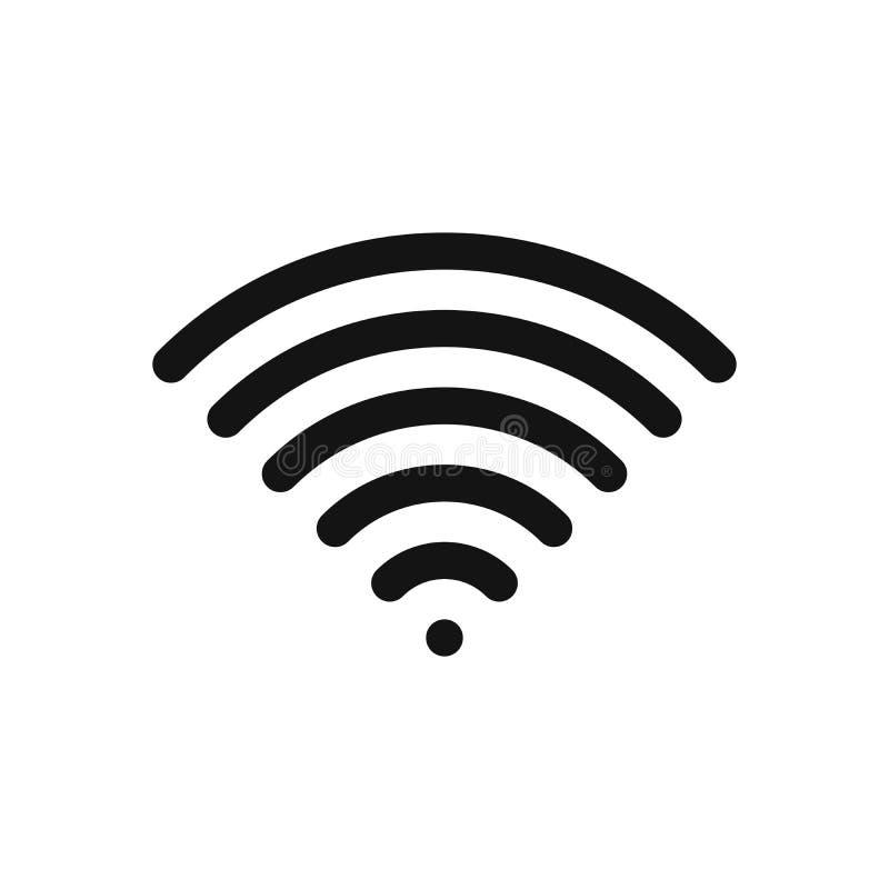 Σύμβολο Wifi Ασύρματο σύνδεση στο Διαδίκτυο ή σημάδι δυναμικής ζώνης Στοιχείο σύγχρονου σχεδίου περιλήψεων Απλό μαύρο επίπεδο δια διανυσματική απεικόνιση