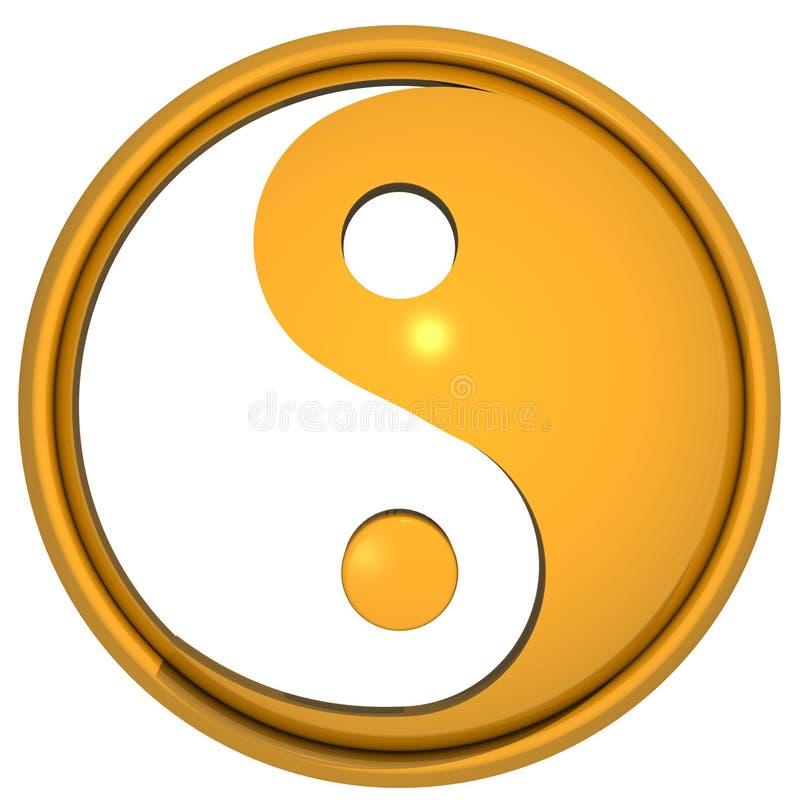 Σύμβολο Yang Yin στο χρυσό διανυσματική απεικόνιση