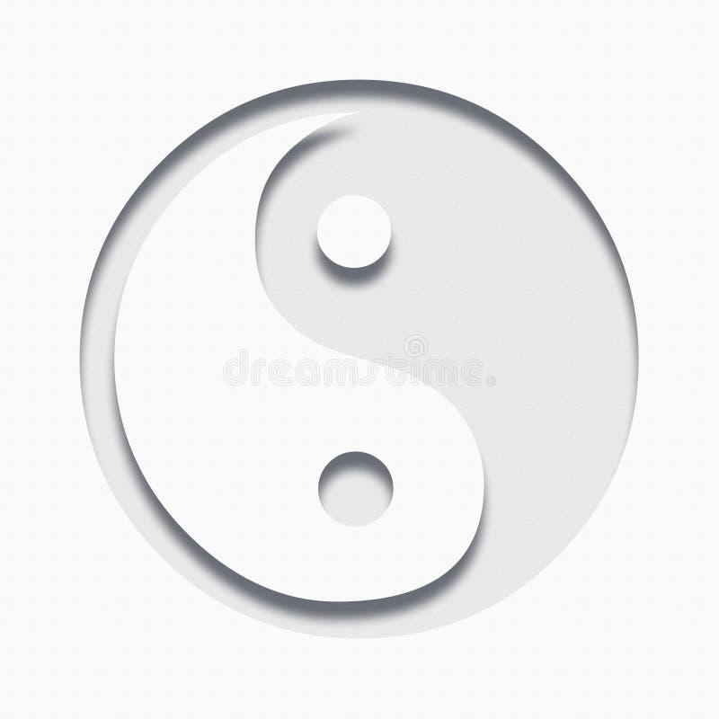Σύμβολο Ying yang, διακοπή εγγράφου απεικόνιση διανυσματική απεικόνιση