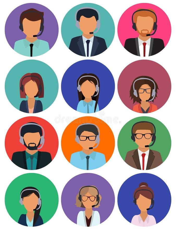 Σύμβουλοι τηλεφωνικών κέντρων με τα ακουστικά Σε απευθείας σύνδεση βοηθοί υπηρεσίας υποστήριξης απεικόνιση αποθεμάτων