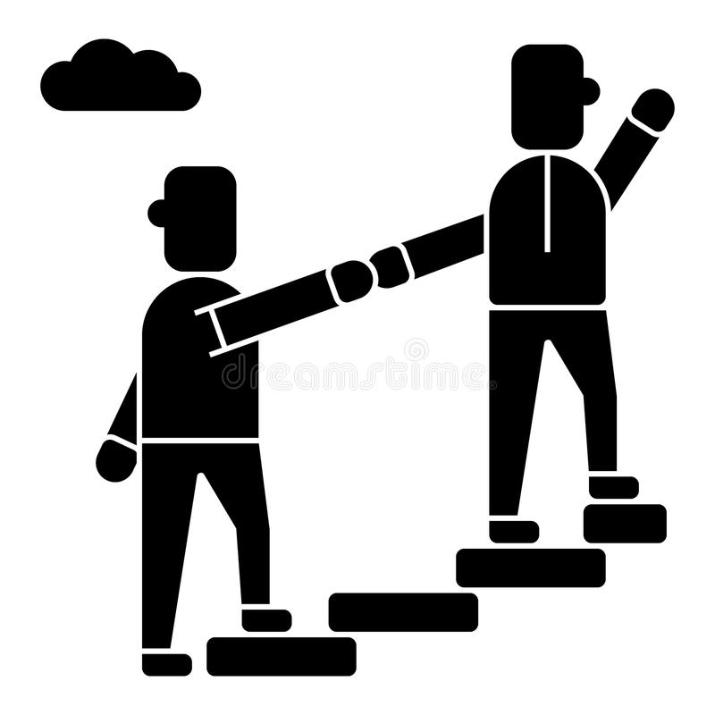Σύμβουλος - που βοηθά - mentoring - εικονίδιο στόχου επίτευξης, διανυσματική απεικόνιση, μαύρο σημάδι στο απομονωμένο υπόβαθρο απεικόνιση αποθεμάτων