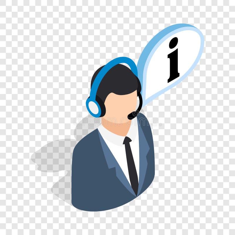 Σύμβουλος στο τηλεφωνικό isometric εικονίδιο διανυσματική απεικόνιση
