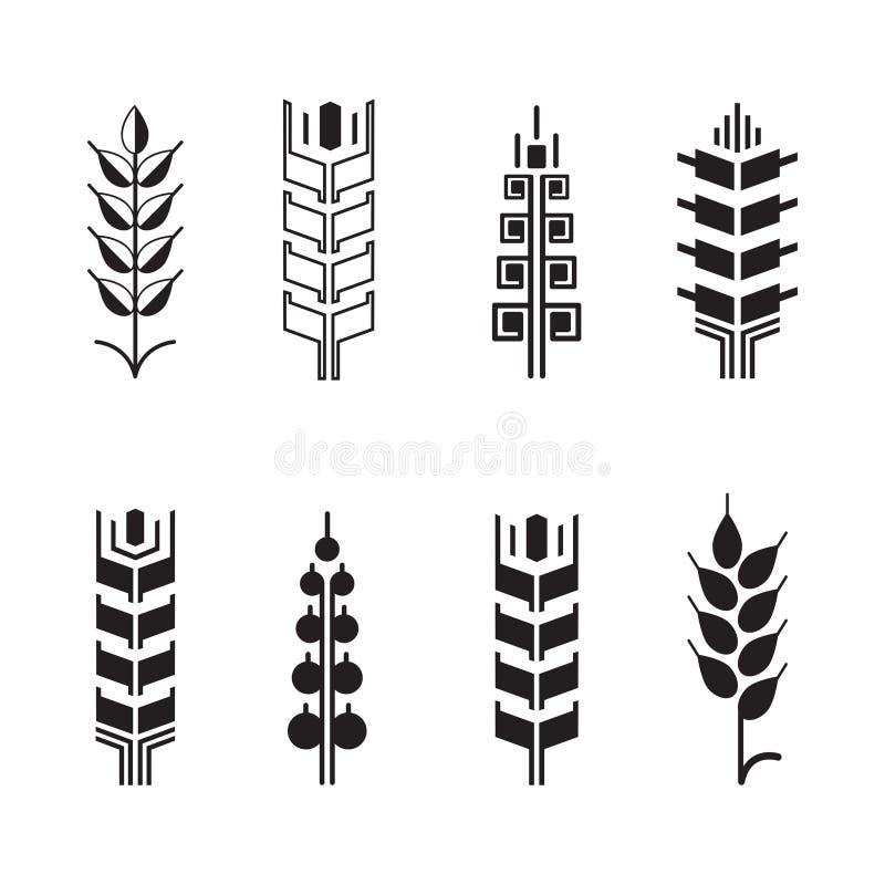 Σύμβολα αυτιών σίτου για το σύνολο εικονιδίων λογότυπων, εικονίδια φύλλων ελεύθερη απεικόνιση δικαιώματος
