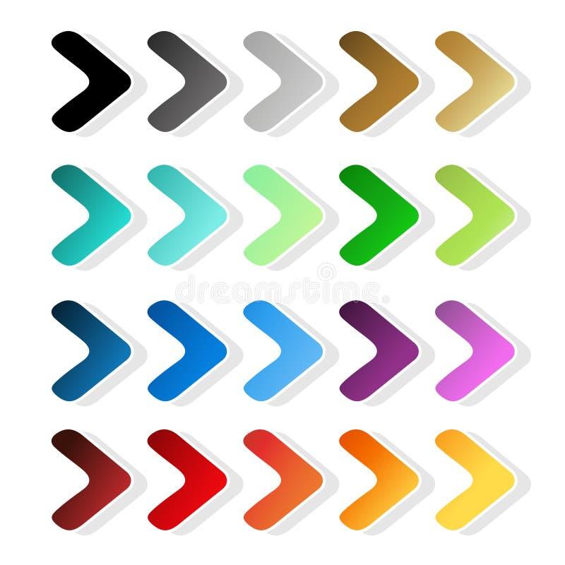 Σύμβολα βελών Μαύρη, γκρίζα, ασημένια, σκοτεινή, χρυσή, κυανή, τυρκουάζ, μπλε, πράσινη, πορφυρή, κόκκινη, πορτοκαλιά και κίτρινη  διανυσματική απεικόνιση