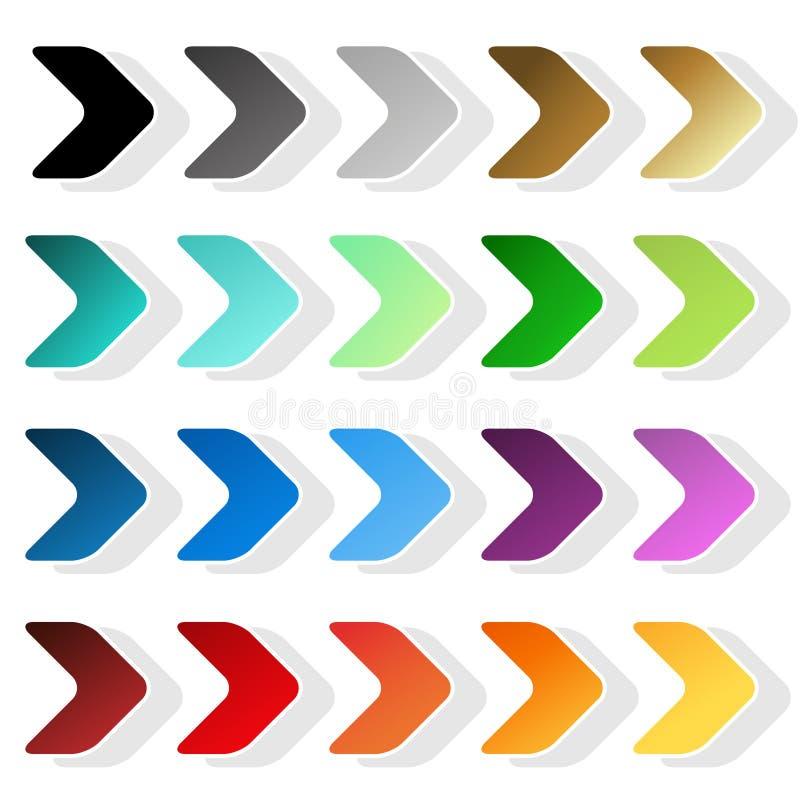 Σύμβολα βελών Μαύρη, γκρίζα, ασημένια, σκοτεινή, χρυσή, κυανή, τυρκουάζ, μπλε, πράσινη, πορφυρή, κόκκινη, πορτοκαλιά και κίτρινη  ελεύθερη απεικόνιση δικαιώματος