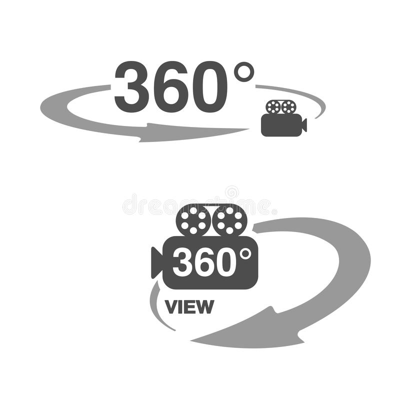 Σύμβολα για τον εικονικό γύρο, ωοειδείς ετικέτες με το βέλος, με το σύμβολο της κάμερας και με το κείμενο - άποψη ελεύθερη απεικόνιση δικαιώματος