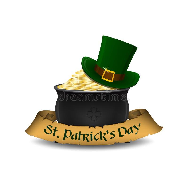 Σύμβολα ημέρας του ST Πάτρικ ` s - leprechaun καπέλο και δοχείο του χρυσού επίσης corel σύρετε το διάνυσμα απεικόνισης ελεύθερη απεικόνιση δικαιώματος