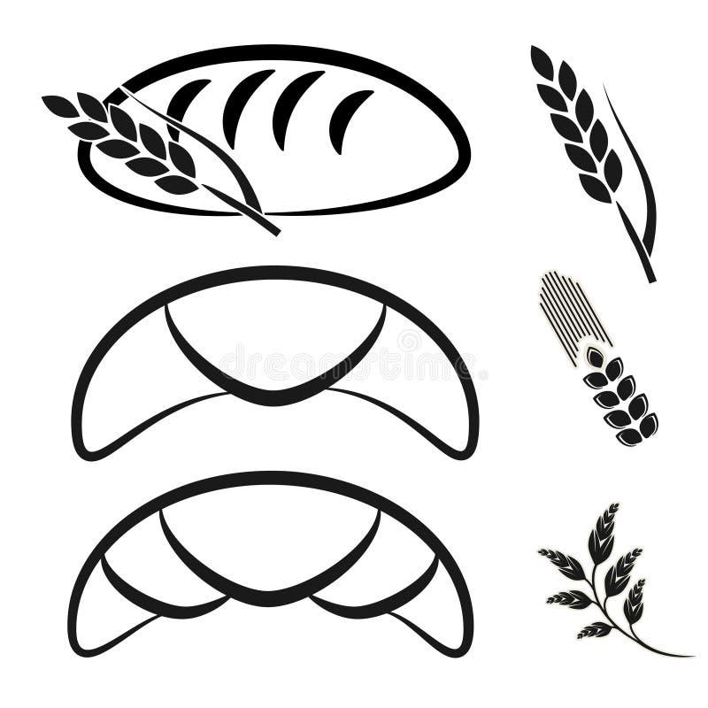 Σύμβολα καταστημάτων αρτοποιείων Μαύρο απλό εικονίδιο γραμμών του croissant, σιταριού ψωμιού και ακίδων ελεύθερη απεικόνιση δικαιώματος