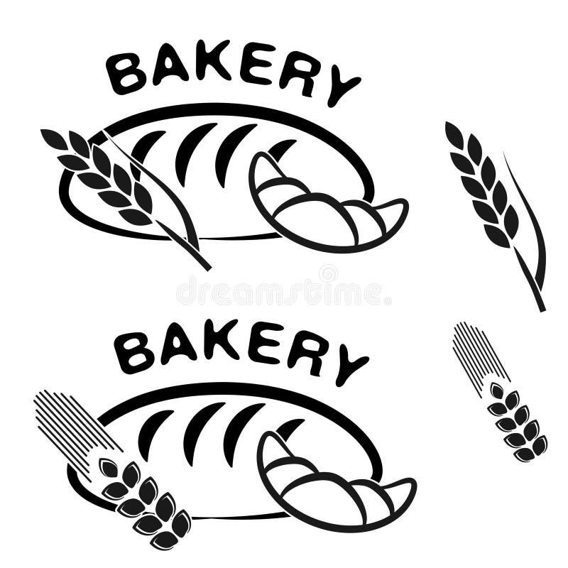 Σύμβολα καταστημάτων αρτοποιείων Μαύρο απλό εικονίδιο του croissant, σιταριού ψωμιού και ακίδων διανυσματική απεικόνιση