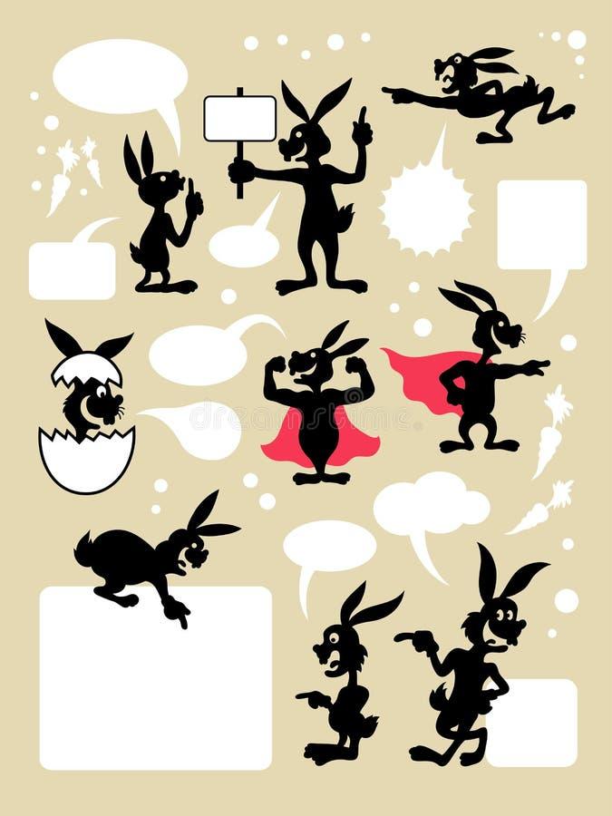 Σύμβολα κινούμενων σχεδίων κουνελιών διανυσματική απεικόνιση