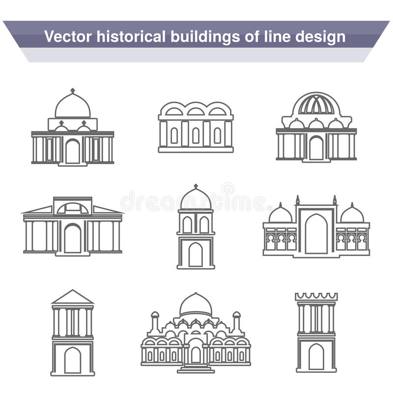 Σύμβολα οικοδόμησης αρχιτεκτονικής, ιστορικό κτήριο, μαύρο εικονίδιο γραμμών του απλού ναού διανυσματική απεικόνιση