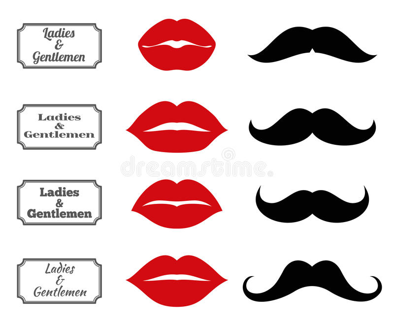 Σύμβολα λουτρών κυριών και κυρίων Διανυσματικά χειλικά moustache εικονίδια διανυσματική απεικόνιση
