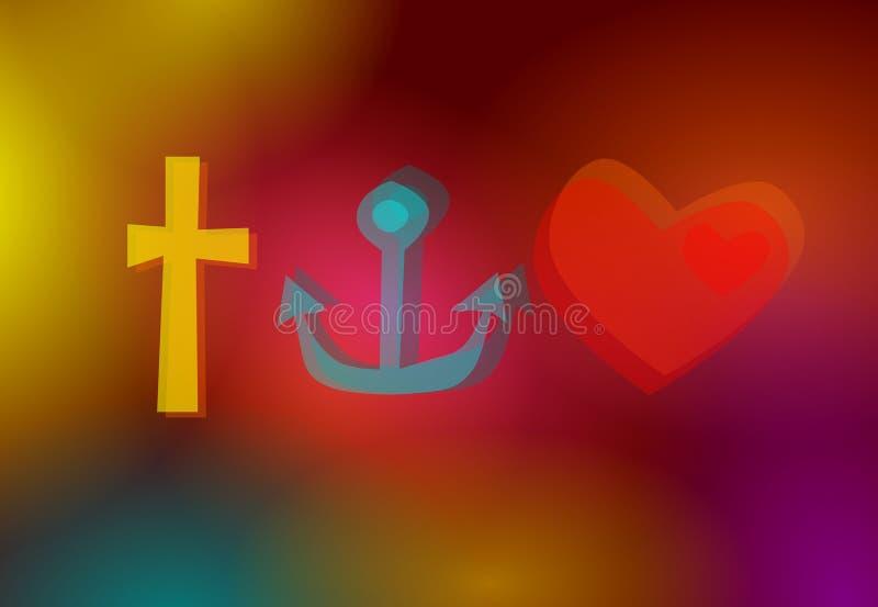 Σύμβολα πίστης, ελπίδας & αγάπης ελεύθερη απεικόνιση δικαιώματος