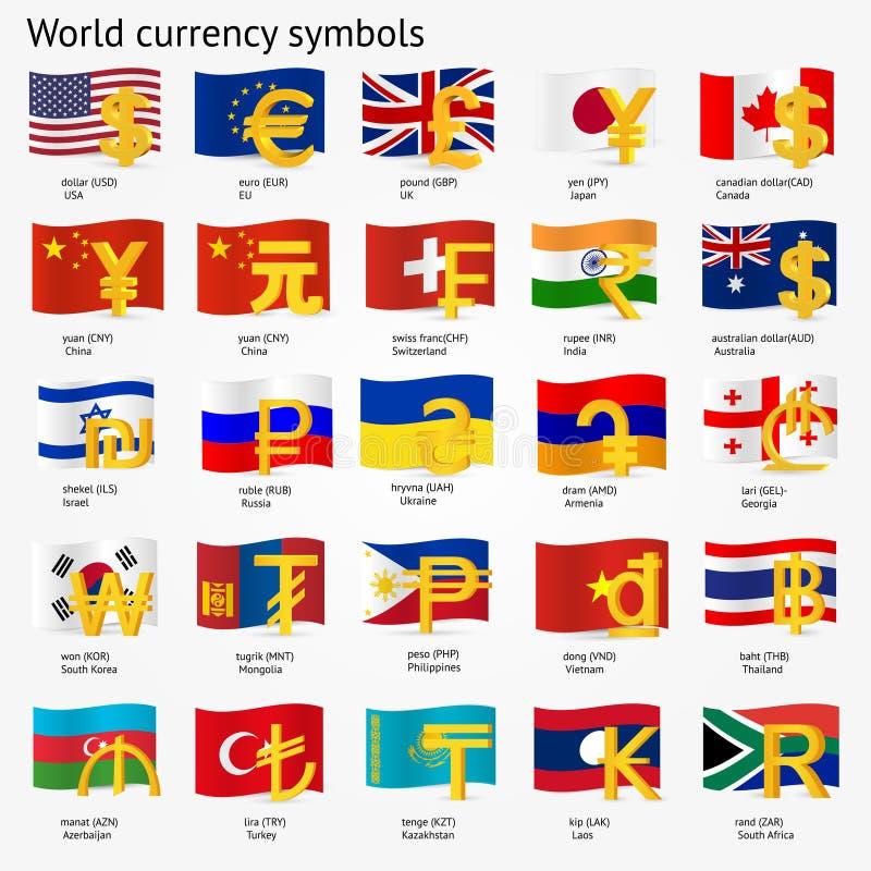 Σύμβολα παγκόσμιου νομίσματος με το σύνολο εικονιδίων σημαιών Εικονίδια σημαδιών χρημάτων με τις εθνικές σημαίες επίσης corel σύρ ελεύθερη απεικόνιση δικαιώματος