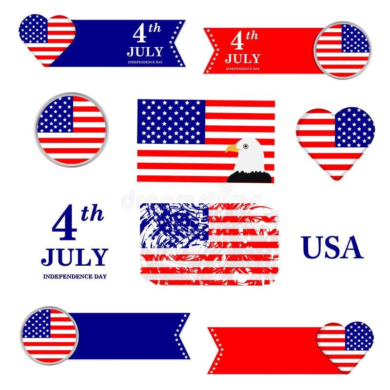 Σύμβολα που τίθενται αμερικανικά ανεξαρτησία ημέρας ανασκόπησης grunge αναδρομική 4ος του Ιουλίου σημαία ΗΠΑ απεικόνιση αποθεμάτων