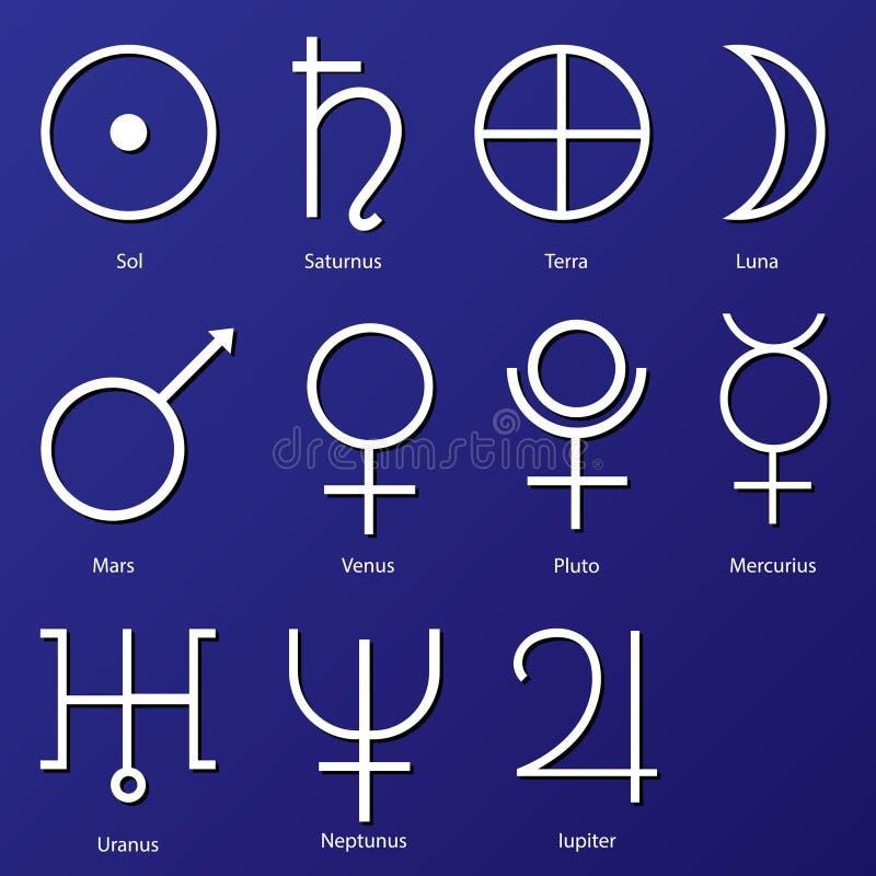 Σύμβολα πλανητών απεικόνιση αποθεμάτων