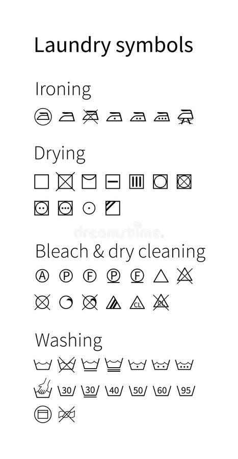Σύμβολα πλυντηρίων Απομονωμένα εικονίδια ελεύθερη απεικόνιση δικαιώματος