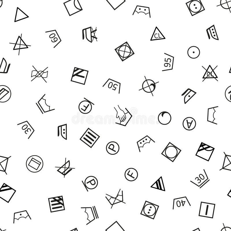 Σύμβολα πλυντηρίων στο άσπρο υπόβαθρο άνευ ραφής ελεύθερη απεικόνιση δικαιώματος