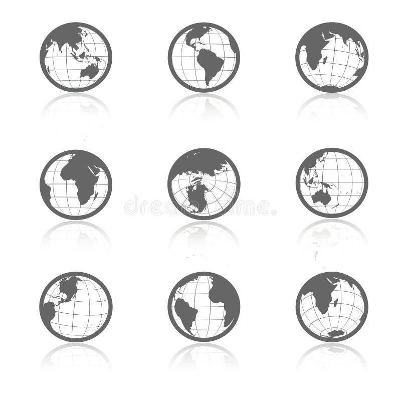 Σύμβολα σφαιρών με τη σκιά - εικονίδια του κόσμου ελεύθερη απεικόνιση δικαιώματος