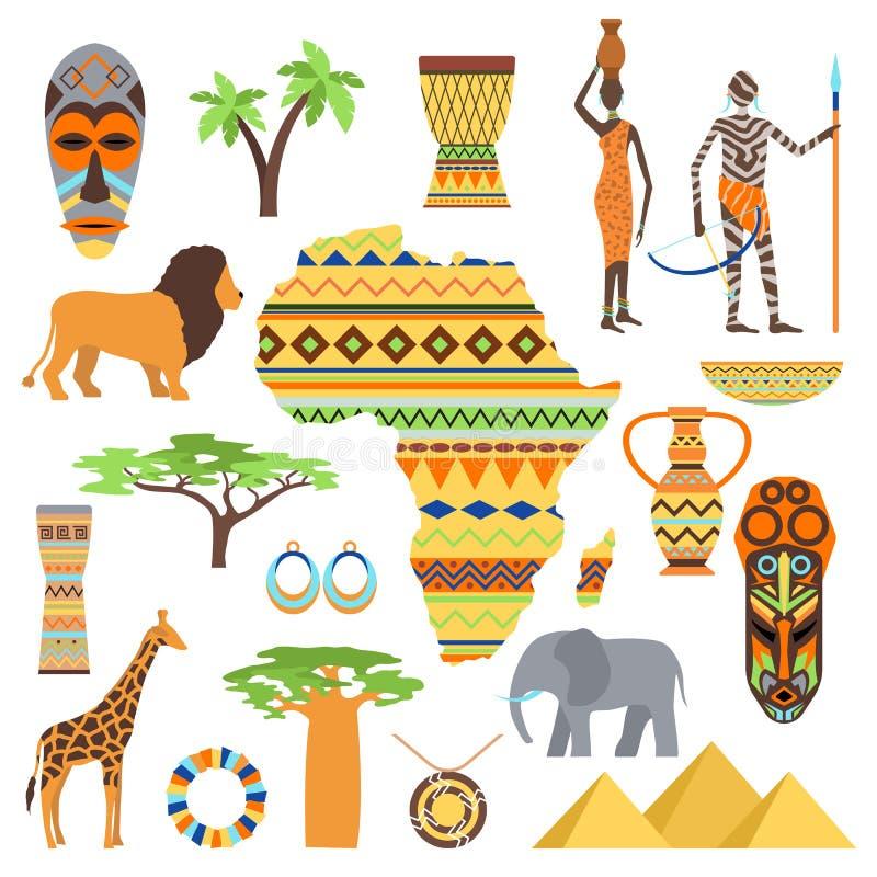 Σύμβολα της Αφρικής και σύνολο ταξιδιού απεικόνιση αποθεμάτων