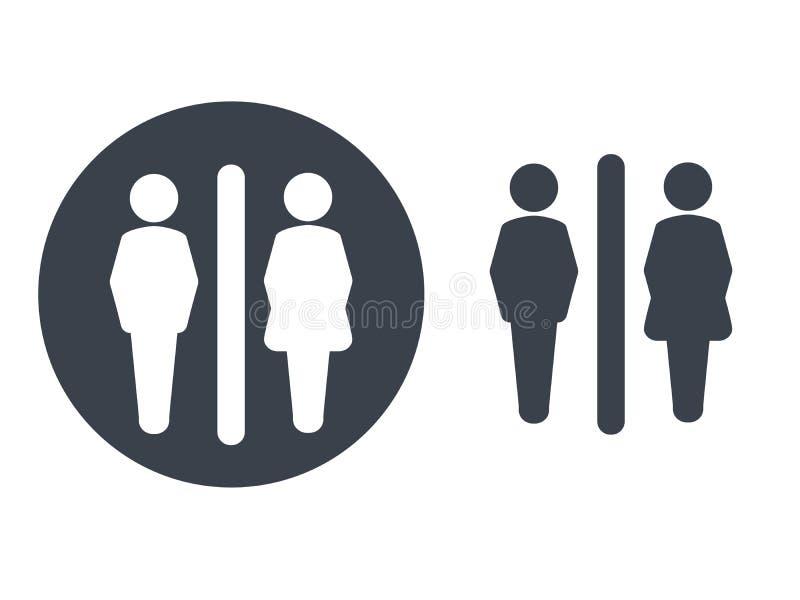 Σύμβολα τουαλετών στο άσπρο υπόβαθρο Άσπρες σκιαγραφίες σε έναν σκοτεινό γκρίζο κύκλο και ένα σκοτεινό γκρίζο αρσενικό και θηλυκό διανυσματική απεικόνιση
