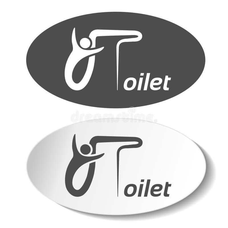 Σύμβολα τουαλετών στο άσπρο υπόβαθρο Άσπρη σκιαγραφία με τις επιστολές σε μια σκοτεινή γκρίζα ωοειδή ετικέτα και σκοτεινή γκρίζα  ελεύθερη απεικόνιση δικαιώματος