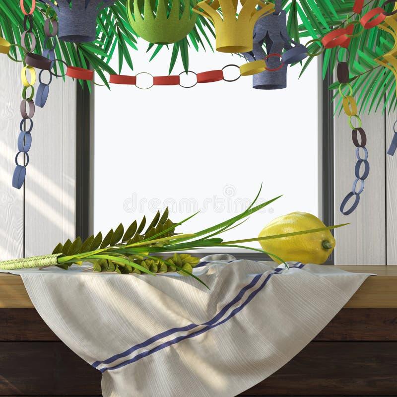 Σύμβολα των εβραϊκών διακοπών Sukkot με τα φύλλα φοινικών στοκ εικόνες με δικαίωμα ελεύθερης χρήσης