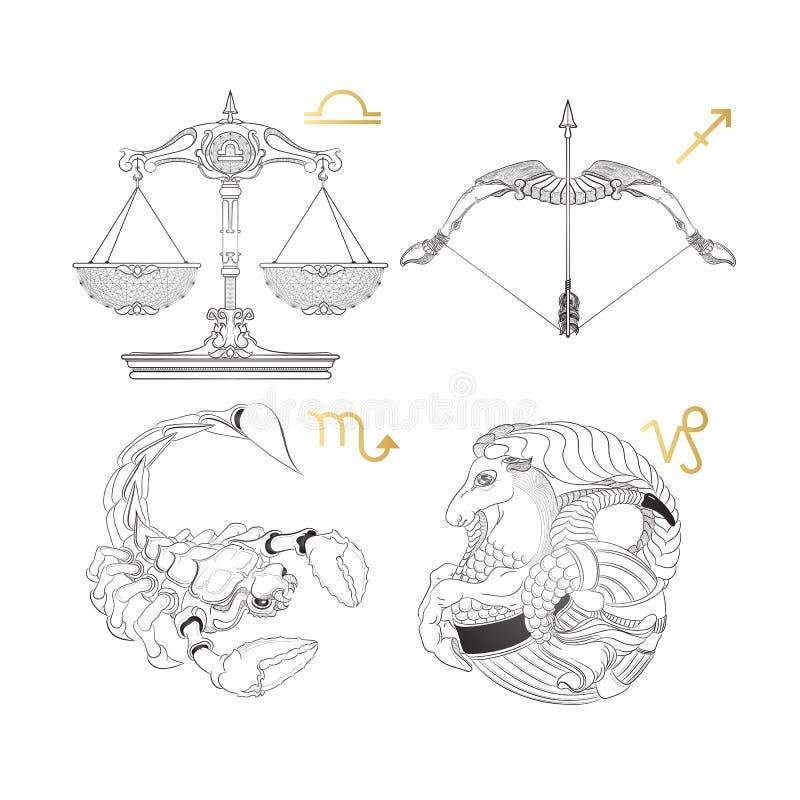 σύμβολα δώδεκα σημαδιών σχεδίου έργων τέχνης διάφορο zodiac Libra Sagittarius Σκορπιός Αιγόκερος διανυσματική απεικόνιση