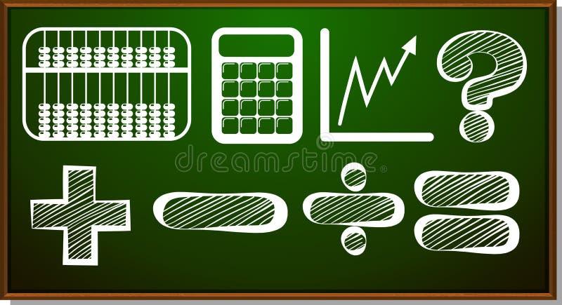 Σύμβολα Math στον πίνακα διανυσματική απεικόνιση