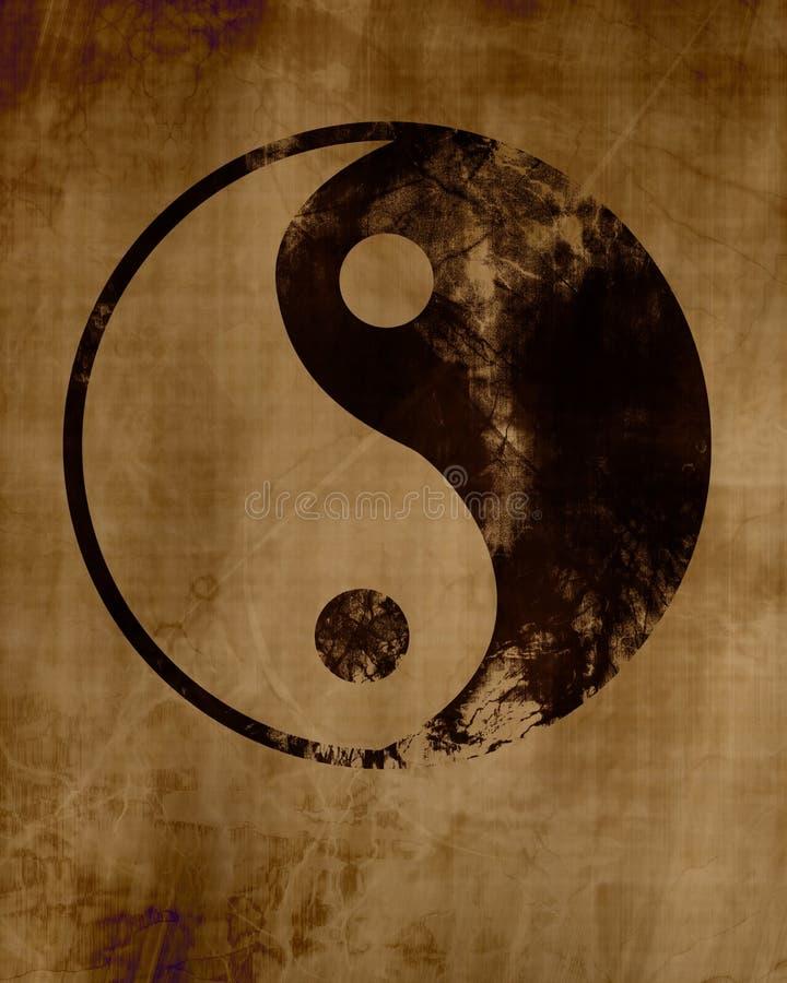 σύμβολο ανασκόπησης grunge yang yin απεικόνιση αποθεμάτων