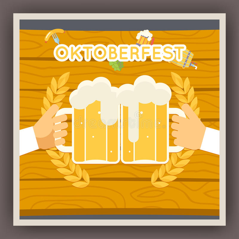 Σύμβολο αφισών εορτασμού φεστιβάλ Oktoberfest διανυσματική απεικόνιση