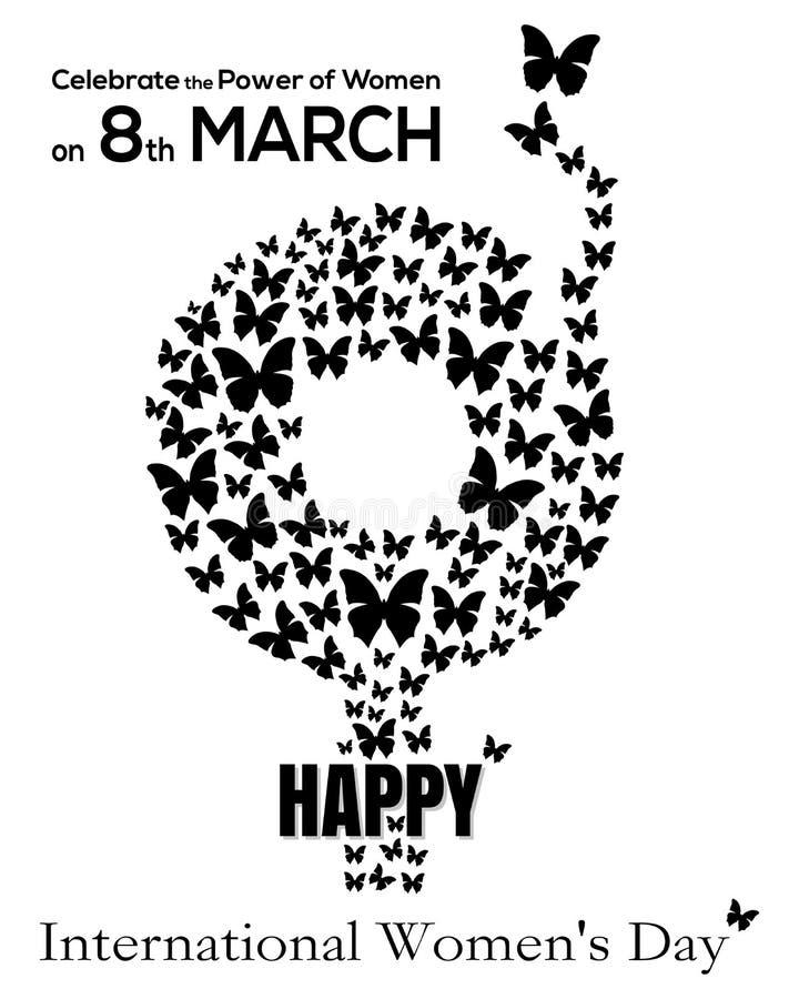 Σύμβολο γένους που αποτελείται από τις πετώντας πεταλούδες 8 Μαρτίου Κάρτα ημέρας των διεθνών γυναικών απεικόνιση αποθεμάτων
