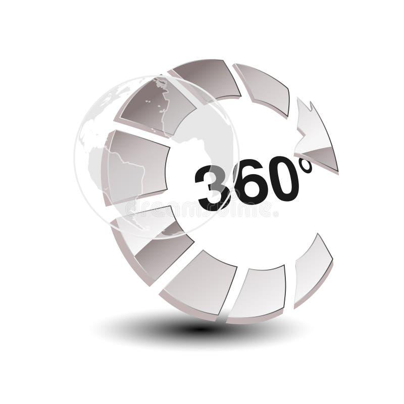 Σύμβολο για τον εικονικό γύρο, στιλπνό ασημένιο βέλος με τη σφαίρα - κουμπώστε με την επιγραφή 360 και με το σύμβολο του wolrd απεικόνιση αποθεμάτων
