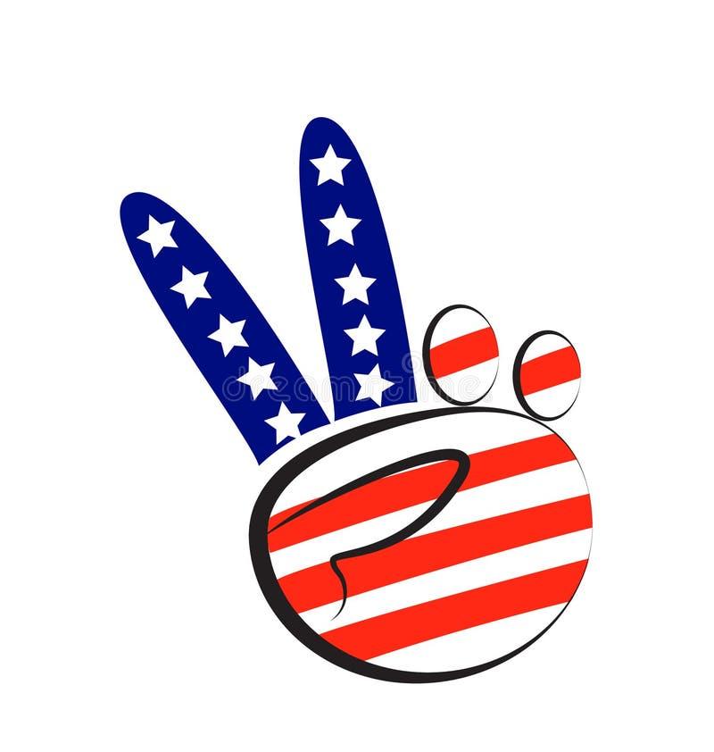 Σύμβολο ειρήνης χεριών με την ΑΜΕΡΙΚΑΝΙΚΗ σημαία ελεύθερη απεικόνιση δικαιώματος
