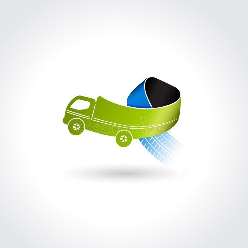 Σύμβολο επιχειρησιακής παράδοσης, εικονίδιο μεταφορών, φορτηγό με τις διαδρομές ροδών απεικόνιση αποθεμάτων