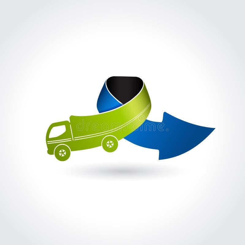 Σύμβολο επιχειρησιακής παράδοσης, εικονίδιο μεταφορών, φορτηγό με το βέλος διανυσματική απεικόνιση