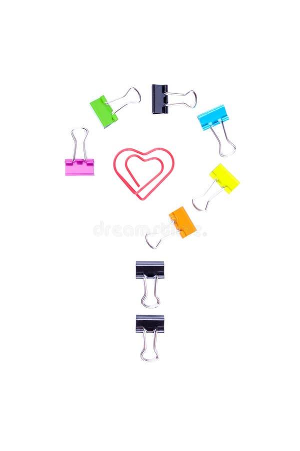 Σύμβολο ερωτηματικών και εσωτερικό καρδιών που γίνεται από το πολύχρωμο έγγραφο στοκ φωτογραφίες με δικαίωμα ελεύθερης χρήσης