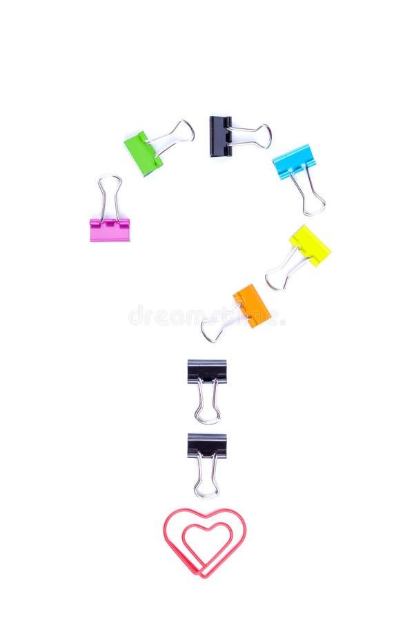 Σύμβολο ερωτηματικών που γίνεται από τους συνδέσμους συνδετήρων εγγράφου στοκ φωτογραφίες με δικαίωμα ελεύθερης χρήσης