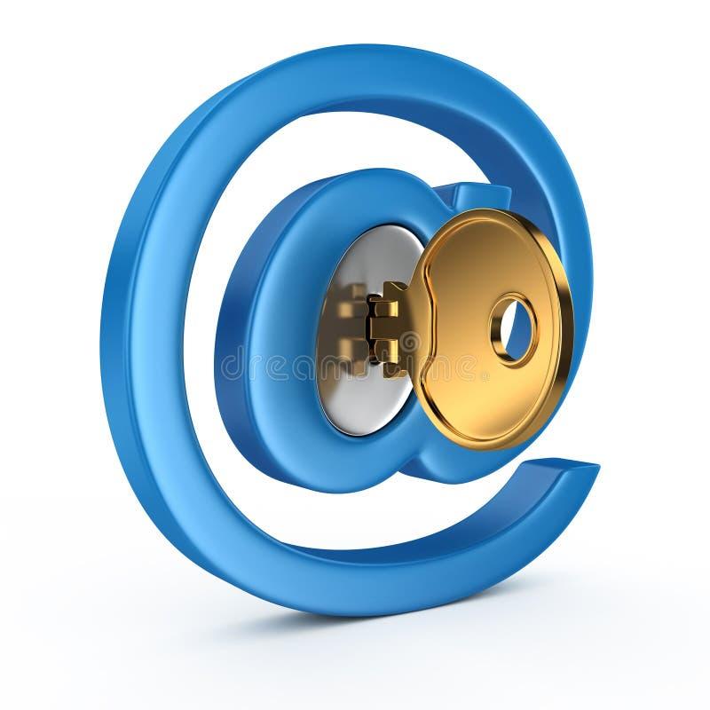 Σύμβολο ηλεκτρονικού ταχυδρομείου με το κλειδί διανυσματική απεικόνιση