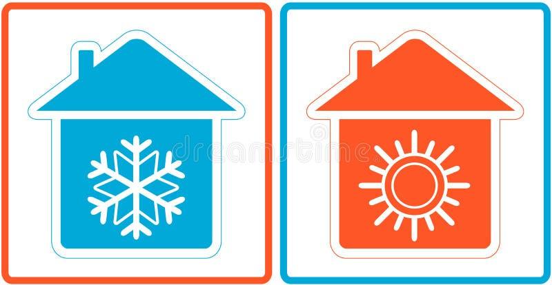 Σύμβολο κλιματισμού - θερμάνετε και κρύο στο σπίτι διανυσματική απεικόνιση