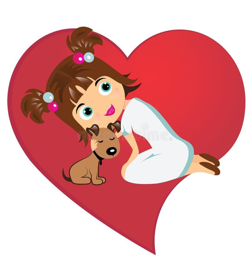 Σύμβολο μικρών κοριτσιών και σκυλιών της αγάπης διανυσματική απεικόνιση