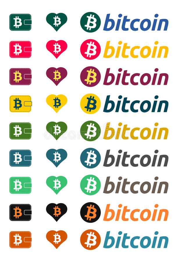 Σύμβολο νομίσματος Bitcoin στα χρώματα διανυσματική απεικόνιση