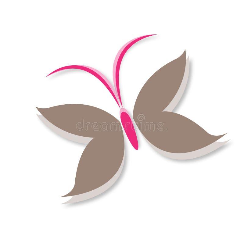 Σύμβολο λογότυπων φτερών πεταλούδων καφετής και ρόδινος ελεύθερη απεικόνιση δικαιώματος