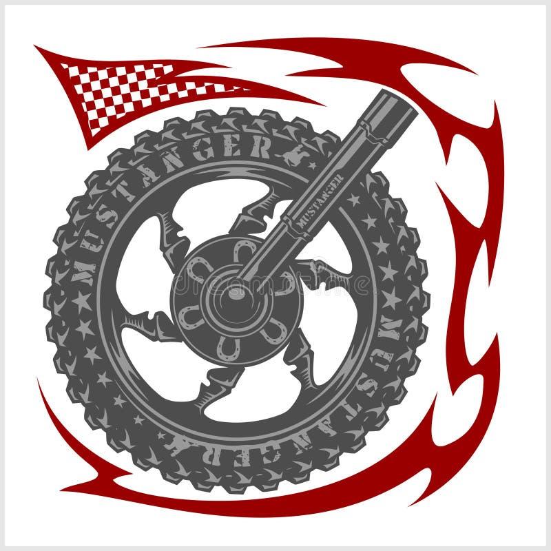 Σύμβολο λογότυπων Moto μέσα στη ρόδα και φυλετικός ελεύθερη απεικόνιση δικαιώματος