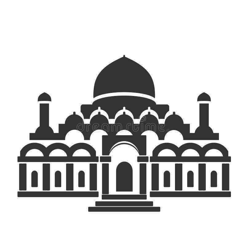 Σύμβολο οικοδόμησης αρχιτεκτονικής, ιστορικό κτήριο, μαύρο εικονίδιο του μουσουλμανικού τεμένους, ναός απεικόνιση αποθεμάτων