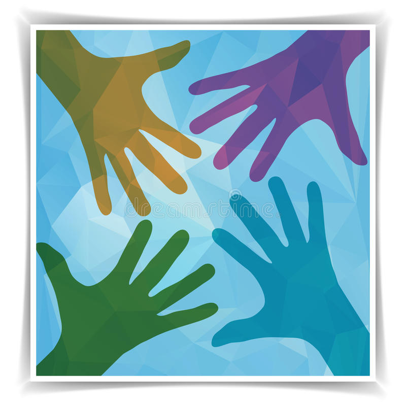 Σύμβολο ομάδας Ευτυχή ζωηρόχρωμα χέρια διανυσματική απεικόνιση